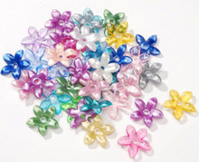 150 Acrylic 3x12mm Flower Component Color Mix Beads