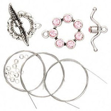 2 Antiqued Pewter Bracelet Toggle Clasps with Light Rose Swarovski Crystals *