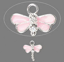 2 Sterling Silver Pink Dragonfly Charms Made with Swarovski Crystals