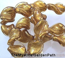 10 OR 20 Lampwork Twist Gold Topaz Foil Glass Beads  * 14x20mm