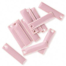 12 Silver Plated Enamel Rectangle Charms ~ 20x5mm  ROSE PINK *