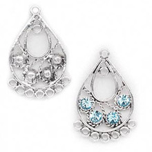 2 Antiqued Silver Pewter Teardrop Earring Connector with Swarovski Aqua Crystals