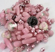 100 Grams Gorgeous Pink Czech, India Glass & Lampwork Beads Mix *