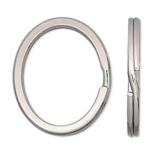 10 Silver Nickel Finished Steel 34x28mm Flat OVAL  Split Rings ~ Key Rings