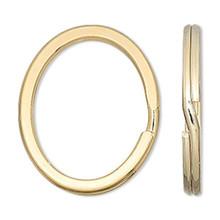 10 Gold Finished Steel 34x28mm Flat OVAL Split Rings ~ Key Rings