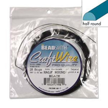 7 Yards Non Tarnish Black Plated Copper HALF Round Wrapping Wire ~ 18gauge