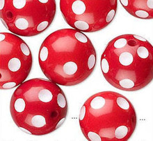 20 Red & White Polka Dot Acrylic Round Beads ~ 16mm