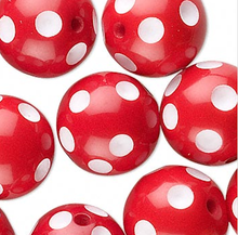 20 Red & White Polka Dot Acrylic 16mm Round Beads