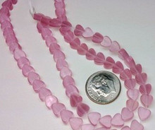 1 Strand Pink Cat's Eye Fiber Optic Glass 6x6mm Flat Heart Beads *