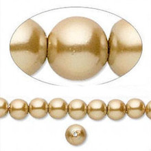 "16"" Strand Hemalyke Magnetic Pearl Gold 6mm Round Beads"