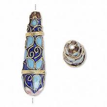 2 Gold Plated Cloisonne Long Teardrop Blue Beads  * 11x40mm