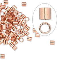 100 Copper Seamless 3x3mm Tube Crimp Beads ~ 2.1mm ID