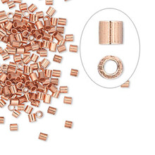 100 Copper Seamless 2x2mm Tube Crimp Beads ~ 1.2mm ID