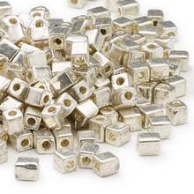 25 Grams Miyuki Opaque Metallic Silver 3.5-3.7mm Square Glass Beads (SB1051)