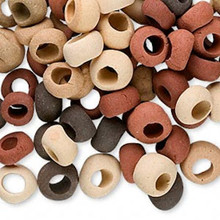 100 Ceramic Rondelle Bead Mix  * Tan Rust Brown  *6x4-9x5mm