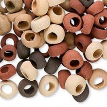 100 Ceramic Rondelle Bead Mix  * Tan Rust Brown  *6x4-9x5mm