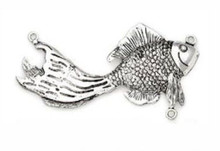 1 Antiqued Silver Pewter FISH Link Connector ~ 42x74mm Focal  *