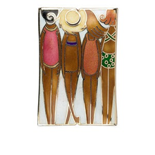 1 Cloisonne Double Sided Beach Girls Focal Bead ~  59x40mm