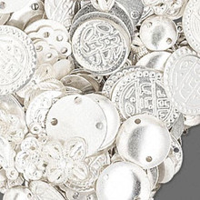 100 Grams Silver Plated Brass Component Mix ~ Approx 585-600 Pieces  *