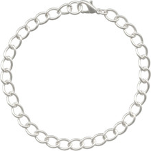 2 Silver Plated Steel Curb Chain Bracelets with Lobster Clasps  ~ Add Charms or Beads!