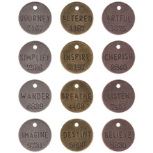 12 Antiqued Gold Silver & Copper Philosophy Word Tags ~ Tim Holtz