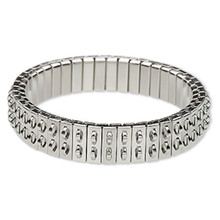 1 Silver Stainless Steel Stretch Cha Cha Bracelet Base ~ 11mm Wide ~ 2 Row