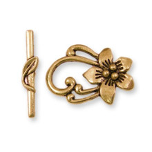 2 Sets Antiqued Gold Plated Pewter Flower Leaf Toggle Clasps *