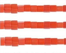 1 Strand Orange Red Cat's Eye Fiber Optic Glass 4x4mm Square Cube Beads *