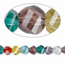 1 Strand Crystal 6mm Twisted Round 34 Faceted Multicolor Beads
