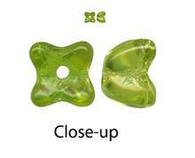 50 Czech Pressed Glass Transparent Olivine Green 5x5mm Flower Bead Caps *