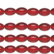 Four 16 Inch Strands Ruby Red Oval Glass Beads ~ 8x6mm  *