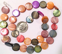 """15"""" Strand Mother of Pearl Flat Coin Bead Mix ~  12-13mm  MOP  *"""
