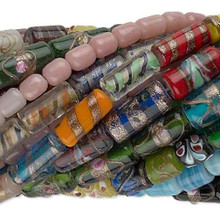 "25 (16"") Strands Lampwork Glass Round Tube Bead Mix  *"