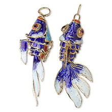 "1 Gold Plated Cloisonne Aqua Moving Articulated Fan Tail Fish Pendant ~ 2 1/2"" Long *"