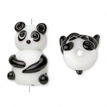 2 OR 4  Lampwork Black  &  White Sitting Panda Bear Glass Beads ~ 22x15mm