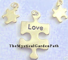 1 Set Gold Plated Puzzle Word Awareness Charms ~  Love  *
