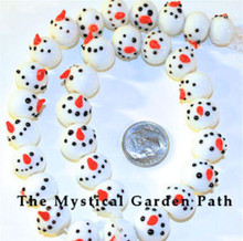 30 Lampwork Glass White SnowMan Beads ~ Winter Snow Man ~ 13mm