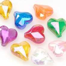 144 Acrylic Transparent Aurora Borealis Faceted Heart Beads 12mm Mix