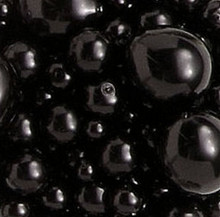 156 Fine Czech Pressed Glass Pearl Jet Black Bead Mix  *
