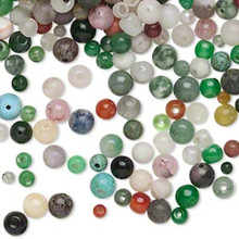 1/4 Pound Multi-Gemstone & Glass Bead Mix ~ 3-6mm Rounds MultiColored ~ 790*