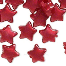 144 Plastic Pearlized Berry Red STAR Pony Beads 12x12mm  *