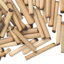 100 Tan Bamboo Wood Round Tube Beads  ~ 23x3mm-28x4mm