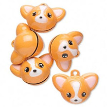 6 Adorable Chihuahua Dog Bell Charms   ~ 25x19mm