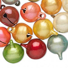 10 Cat's Eye Multi Colors Jingle Bells with Clapper ~ 16mm  *