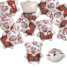 10 Porcelain Red White & Black Pig Beads   ~ 18x14mm