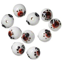 10 Opaque White Round Lampwork Glass Beads ~ 10x11mm with LadyBug  *