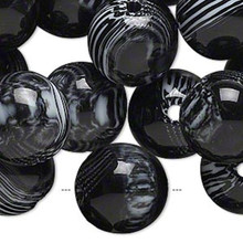 1/4 lb Large Resin Opaque Black & White Marbled Round Beads ~ 15-17mm *