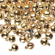 100 Steel Gold Jingle Bells with Tiny Clappers 6mm Charms
