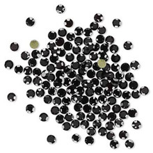144 Hot Fix Flat Back Round Rhinestone Crystals ~ 2.7-2.8mm ~ SS10 ~Jet Black *