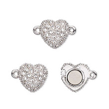 1 Rhodium Plated Pewter Crystal Magnetic Heart Clasp ~  12x12mm